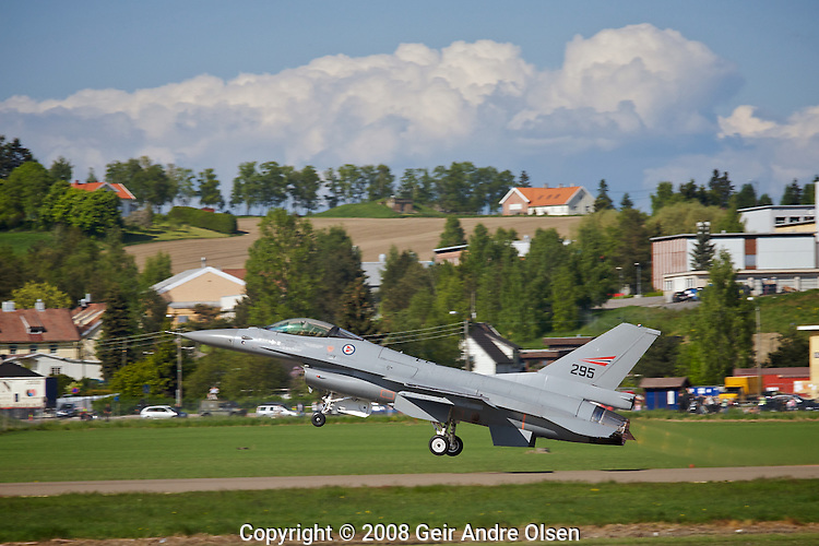 General Dynamics F-16 Fighting Falcon at take-of from Kjeller Airport in Norway