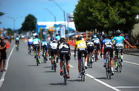 Riders from the lead peleton coast after completing the NZ Cycle Classic stage five of the UCI Oceania Tour in Masterton, New Zealand on Saturday, 23 January 2016. Photo: Dave Lintott / lintottphoto.co.nz