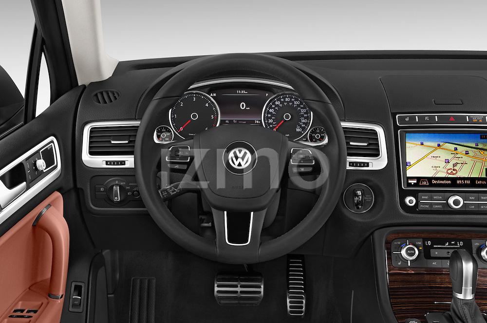 Car pictures of steering wheel view of a 2015 Volkswagen Touareg Executive 5 Door Sport Utility Vehicle Steering Wheel