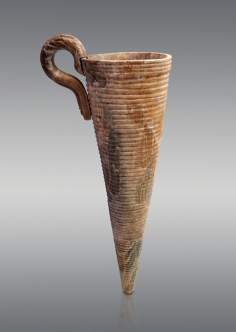 Minoan stone conical rhython with carved ring decoration, Zakros 1500-1400 BC; Heraklion Archaeological  Museum, grey background.