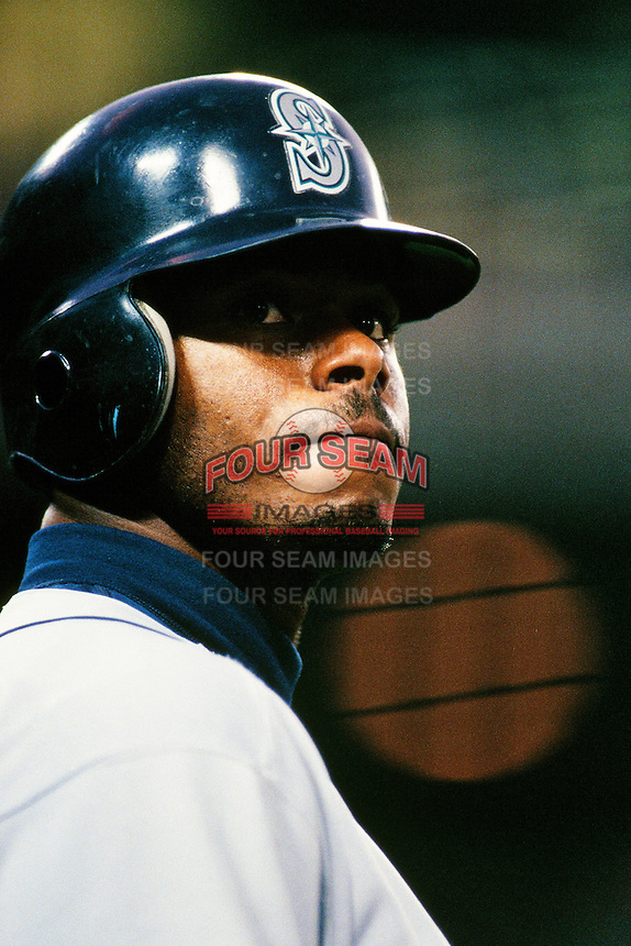 Ken Griffey jr. of the Seattle Mariners during a game against the Anaheim Angels at Angel Stadium circa 1999 in Anaheim, California. (Larry Goren/Four Seam Images)