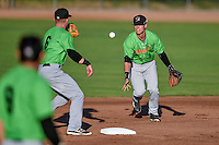 Mitch Roman (1) of the Great Falls Voyagers on defense against the Ogden Raptors in Pioneer League action at Lindquist Field on August 16, 2016 in Ogden, Utah. Ogden defeated Great Falls 2-1.(Stephen Smith/Four Seam Images)