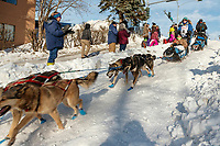 Paige Drobney team runs down the Cordova Street Hill during the ceremonial start of the 2019 Iditarod in downtown Anchorage, Alaska on Saturday March 2.<br /> <br /> Photo by Jeff Schultz/  (C) 2019  ALL RIGHTS RESERVED