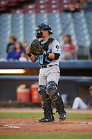 Hudson Valley Renegades catcher Erik Ostberg (21) during a game against the Connecticut Tigers on August 20, 2018 at Dodd Stadium in Norwich, Connecticut.  Hudson Valley defeated Connecticut 3-1.  (Mike Janes/Four Seam Images)
