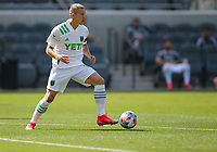 LOS ANGELES, CA - APRIL 17: Brad Stuver  #41 of Austin FC looks for an open man during a game between Austin FC and Los Angeles FC at Banc of California Stadium on April 17, 2021 in Los Angeles, California.