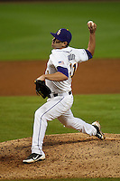 LSU Tigers pitcher Nick Goody #41 delivers against the Mississippi State Bulldogs during the NCAA baseball game on March 16, 2012 at Alex Box Stadium in Baton Rouge, Louisiana. LSU defeated Mississippi State 3-2 in 10 innings. (Andrew Woolley / Four Seam Images).
