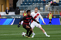 Chester, PA - Sunday December 10, 2017: Bryce Marion, Andrew Gutman. Stanford University defeated Indiana University 1-0 in double overtime during the NCAA 2017 Men's College Cup championship match at Talen Energy Stadium.
