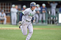 Notre Dame Fighting Irish third baseman Kyle Fiala (20) runs to first during a game against the Clemson Tigers during game one of a double headers at Doug Kingsmore Stadium March 14, 2015 in Clemson, South Carolina. The Tigers defeated the Fighting Irish 6-1. (Tony Farlow/Four Seam Images)