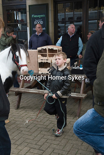 """London Cob Horse dealers """"back end day"""" sale. Its the last day of trading in the year. Battersea London UK"""