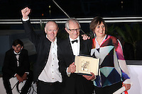 DIRECTOR KEN LOACH, WINNER OF THE PALME D'OR FOR THE FILM 'I, DANIEL BLAKE', WITH SCREENWRITER PAUL LAVERTY AND PRODUCER REBECCA O'BRIEN - PHOTOCALL OF THE WINNERS AT THE 69TH FESTIVAL OF CANNES 2016