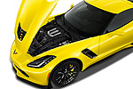 Car stock 2019 Chevrolet Corvette Z06 Coupe 1LZ 3 Door Targa engine high angle detail view