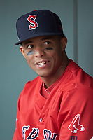 Jhon Nunez (2) of the Salem Red Sox during the game against the Winston-Salem Dash at BB&T Ballpark on April 22, 2018 in Winston-Salem, North Carolina.  The Red Sox defeated the Dash 6-4 in 10 innings.  (Brian Westerholt/Four Seam Images)