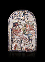 """Ancient Egyptian Ra stele , limestone, New Kingdom, 19th Dynasty, (1279-1190 BC), Deir el-Medina,  Egyptian Museum, Turin. black background.<br /> <br /> On this round-topped stele, the deceased Pashed, <br /> """"excellent spirit of Ra"""", akh-ikr, is pictured left, <br /> seated on a chair with lion's paws, smelling the lotus <br /> flower. The offering table holds a basket containing <br /> various offerings. A large open pomegranate, containing <br /> a great quantity of seeds, appears under the chair. The <br /> colours on this stele are well preserved.<br /> <br /> Akh iqer en Ra """" the excellent spirit of Ra' stele. The individual is smelling a lotus flower. One of three stele forund in different rooms of houses in Deir el-Medina where they stood in niches."""