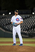 Mesa Solar Sox relief pitcher Bailey Clark (35), of the Chicago Cubs organization, gets ready to deliver a pitch during an Arizona Fall League game against the Scottsdale Scorpions at Sloan Park on October 10, 2018 in Mesa, Arizona. Scottsdale defeated Mesa 10-3. (Zachary Lucy/Four Seam Images)