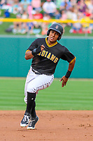 Indianapolis Indians outfielder Christopher Bostick (7) races to third base during an International League game against the Buffalo Bisons on July 28, 2018 at Victory Field in Indianapolis, Indiana. Indianapolis defeated Buffalo 6-4. (Brad Krause/Four Seam Images)