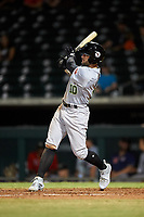 Peoria Javelinas J.J. Matijevic (10), of the Houston Astros organization, at bat during an Arizona Fall League game against the Mesa Solar Sox on September 21, 2019 at Sloan Park in Mesa, Arizona. Mesa defeated Peoria 4-1. (Zachary Lucy/Four Seam Images)