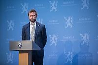 Press conference with Prime Minister Erna Solberg, Minister of Health Bent Høie to present the Corona commission, led by Stener Kvinnsland. <br /> <br /> <br /> Norwegian authorites introduced strict measures to combat the Coronavirus (COVID-19) in March 2020. <br /> <br /> <br /> ©Fredrik Naumann/Felix Features<br /> <br /> <br /> Pressekonferanse om koronakrisen og den nyoppnevnte Koronakommisjonen<br /> Statsminister Erna Solberg og helse- og omsorgsminister Bent Høie inviterer til pressekonferanse sammen med lederen for den nyoppnevnte Koronakommisjonen, Stener Kvinnsland.