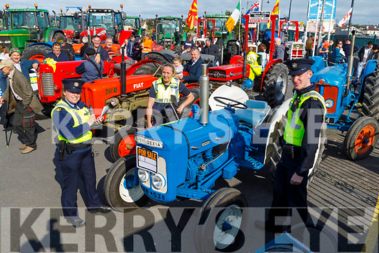 Gda Nicola Hogan, Gda Brian English and Gda Mary Gardiner at the Blennerville Tractor Run Into the West fundraiser for Kerry Hospice on Sunday.