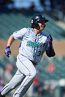 Salt River Rafters Colton Welker (34), of the Colorado Rockies organization, rounds first base during the Arizona Fall League Championship Game against the Surprise Saguaros on October 26, 2019 at Salt River Fields at Talking Stick in Scottsdale, Arizona. The Rafters defeated the Saguaros 5-1. (Zachary Lucy/Four Seam Images)