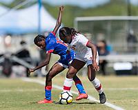 Bradenton, FL - Sunday, June 12, 2018: Teni Akindoju, Rachelle Caremus prior to a U-17 Women's Championship 3rd place match between Canada and Haiti at IMG Academy. Canada defeated Haiti 2-1.