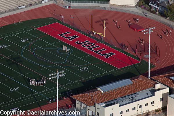 aerial photograph of the La Jolla High School woman soccer team's practice at the schools football field, La Jolla, San Diego, County, California