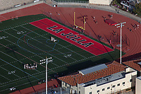 aerial photograph of the La Jolla High School woman soccer team's practice at the schools football field, La Jolla, San Diego, County, California
