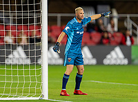WASHINGTON, DC - MAY 13: Jon Kempin #21 of D.C. United yells to his team during a game between Chicago Fire FC and D.C. United at Audi FIeld on May 13, 2021 in Washington, DC.