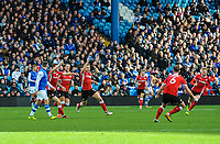Barnsley's midfielder Harvey Barnes (15) finds the top corner during the Sky Bet Championship match between Sheff Wednesday and Barnsley at Hillsborough, Sheffield, England on 28 October 2017. Photo by Stephen Buckley / PRiME Media Images.