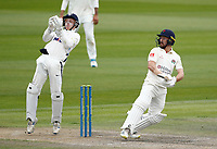 29th May 2021; Emirates Old Trafford, Manchester, Lancashire, England; County Championship Cricket, Lancashire versus Yorkshire, Day 3; Josh Bohannon of Lancashire fails to deal with a rising ball and Yorkshire keeper Harry Duke reacts quickly