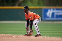 Baltimore Orioles Carlos Baez (52) during a Minor League Spring Training game against the Tampa Bay Rays on March 16, 2019 at the Buck O'Neil Baseball Complex in Sarasota, Florida.  (Mike Janes/Four Seam Images)