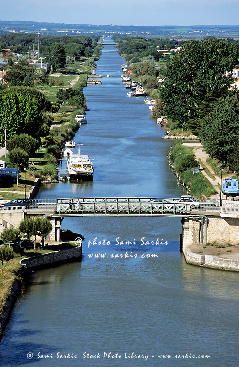Bridge over a canal in Aigues-Mortes, Gard, France.