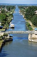 Bridge over a canal in Aigues-Mortes, Gard, France.