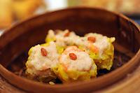 Steamed pork dumpling with shrimp that cost 20 HK$ in Tim Ho Wan the cheapest Michelin starred restaurant in the world, Hong Kong..17-Jul-11..Photo by Richard Jones......