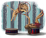 Illustrative image of lion jumping from ring during circus act