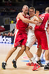 Real Madrid and Crvena Zvezda Telekom during Euroligue Basketball at Barclaycard Center in Madrid, October 22, 2015<br /> Simonovic and Radoncic.<br /> (ALTERPHOTOS/BorjaB.Hojas)