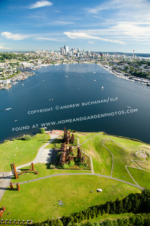 Gas Works park at the north end of boat-dotted Lake Union, looking toward the downtown Seattle skyline; Seattle, WA