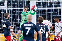 FOXBOROUGH, MA - JUNE 26: Colin Shutler #1 of North Texas SC saves a shot from a corner kick during a game between North Texas SC and New England Revolution II at Gillette Stadium on June 26, 2021 in Foxborough, Massachusetts.