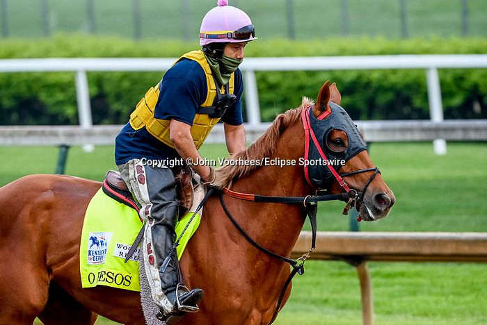 April 25, 2021: O Besos, trained by trainer Greg Foley, exercises in preparation for the Kentucky Derby at Churchill Downs on April 25, 2021 in Louisville, Kentucky. John Voorhees/Eclipse Sportswire/CSM