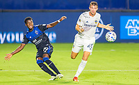 CARSON, CA - OCTOBER 14: Siad Haji #19 of the San Jose Earthquakes sends a ball into the box during a game between San Jose Earthquakes and Los Angeles Galaxy at Dignity Heath Sports Park on October 14, 2020 in Carson, California.