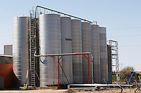 outside fermentation and storage tanks bodegas frutos villar , cigales spain castile and leon