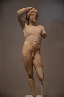 statuette of Apollon Lykeios Marble (found at Epidaurus) Hellenistic copy  of the Apollon by Praxiteles for the Lyceum in Athens