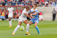 Chicago, IL - Saturday July 30, 2016: Frances Silva, Taylor Comeau during a regular season National Women's Soccer League (NWSL) match between the Chicago Red Stars and FC Kansas City at Toyota Park.