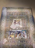 Roman mosaics - Mousai Mosaic. Euphrates Villa, Ancient Zeugama, 2nd - 3rd century AD . Zeugma Mosaic Museum, Gaziantep, Turkey.   Against an art background.