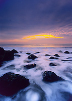 Atlantic Ocean and rock outcropping, predawn light, Seabright, New Jersey