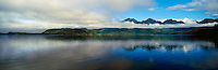 Morning Clouds over Kennedy Lake near Tofino and Ucluelet, BC, Vancouver Island, British Columbia, Canada - Panoramic View