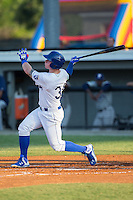 Chris DeVito (34) of the Burlington Royals follows through on his swing against the Princeton Rays at Burlington Athletic Stadium on June 24, 2016 in Burlington, North Carolina.  The Rays defeated the Royals 16-2.  (Brian Westerholt/Four Seam Images)