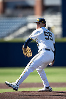 Michigan Wolverines pitcher Cameron Weston (55) delivers a pitch to the plate during the NCAA baseball game against the Illinois Fighting Illini on March 20, 2021 at Fisher Stadium in Ann Arbor, Michigan. Michigan won the game 8-1. (Andrew Woolley/Four Seam Images)