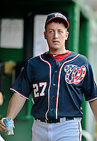 16 May 2012: Washington Nationals pitcher Jordan Zimmermann stands in the dugout prior to a game against the Pittsburgh Pirates at Nationals Park in Washington, DC. The Nationals defeated the Pirates 7-4 in the first game of their 2-game series. Mandatory Credit: Ed Wolfstein Photo