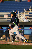 Vermont Lake Monsters designated hitter Skye Bolt (7) at bat during a game against the Batavia Muckdogs August 9, 2015 at Dwyer Stadium in Batavia, New York.  Vermont defeated Batavia 11-5.  (Mike Janes/Four Seam Images)