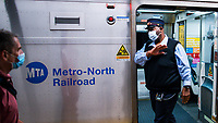 NEW YORK, NY - OCTOBER 20: A MTA worker exits a train at Gran Central Terminal on October 20, 2020 in New York, At least 7.4% MTA workers under NYC Transit have tested positive for the COVID-19 virus along the pandemic, or 3,921 out of about 53,000 workers, according to the MTA's statistics. (Photo by Eduardo MunozAlvarez/VIEWpress)